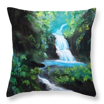 Hawaiian Waterfalls Throw Pillow