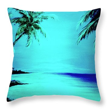 Hawaiian Beach Art Painting #188 Throw Pillow by Donald k Hall