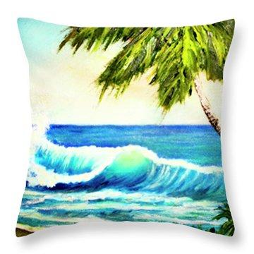 Hawaiian Beach Wave #420 Throw Pillow by Donald k Hall