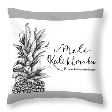 Throw Pillow featuring the drawing Hawaiian Christmas by Nancy Ingersoll