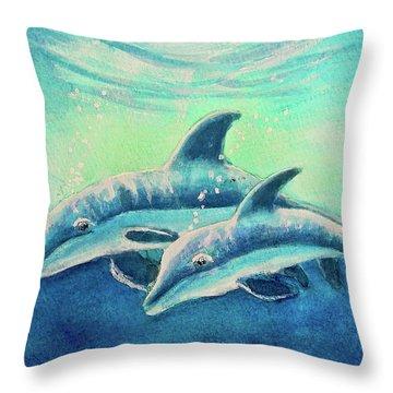 Hawaiian Dolphins  #389 Throw Pillow by Donald k Hall