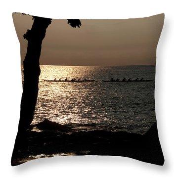 Hawaiian Dugout Canoe Race At Sunset Throw Pillow