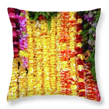 Hawaiian Flower Lei's Throw Pillow