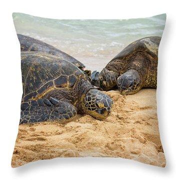 Hawaiian Green Sea Turtles 1 - Oahu Hawaii Throw Pillow by Brian Harig