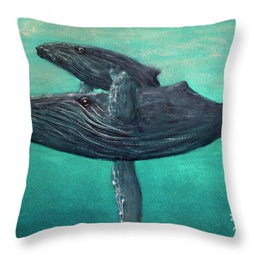 Hawaiian Humpback Whales #455 Throw Pillow by Donald k Hall