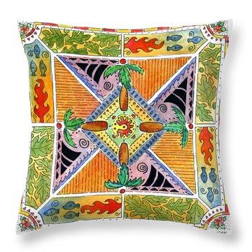 Hawaiian Mandala I - Palm Trees Throw Pillow
