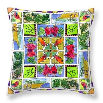Hawaiian Mandala Iv - Anthuriums Throw Pillow