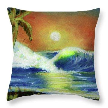 Hawaiian Moon #399 Throw Pillow by Donald k Hall