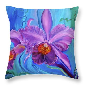 Hawaiian Orchid Lavender Jenny Lee Discount Throw Pillow