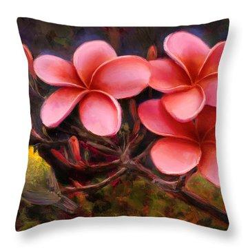 Hawaiian Pink Plumeria And Amakihi Bird Throw Pillow