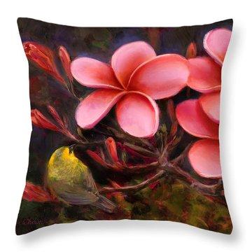 Throw Pillow featuring the painting Hawaiian Pink Plumeria And Amakihi Bird by Karen Whitworth