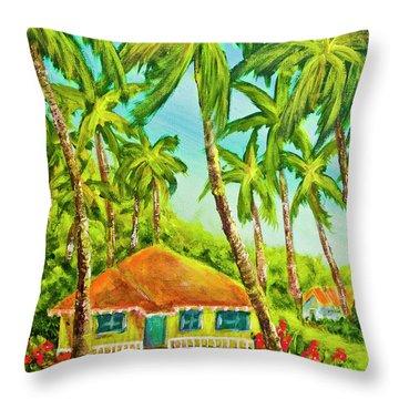 Hawaiian Plantation Home #390 Throw Pillow by Donald k Hall