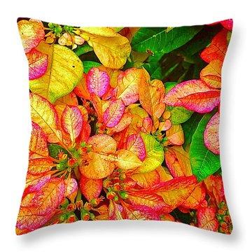 Hawaiian Poinsettias In Puna Throw Pillow