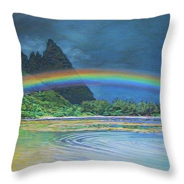 Hawaiian Rainbow Throw Pillow
