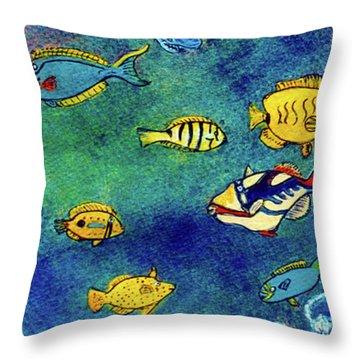 Hawaiian Reef  Fish #223 Throw Pillow by Donald k Hall