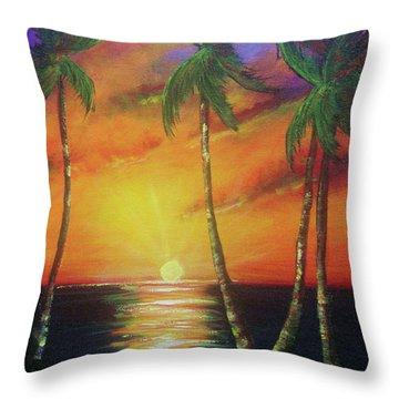 Hawaiian Sunset  #329 Throw Pillow by Donald k Hall