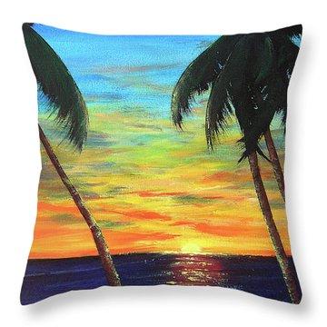 Hawaiian Sunset #340 Throw Pillow by Donald k Hall