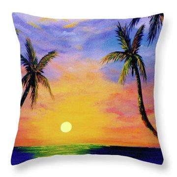 Hawaiian Sunset #36 Throw Pillow by Donald k Hall