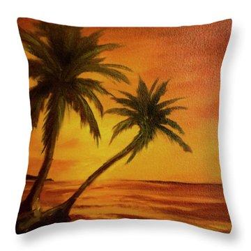 Hawaiian Sunset #380 Throw Pillow by Donald k Hall