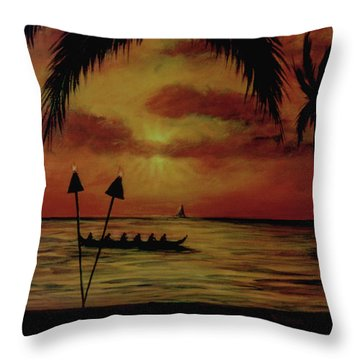 Hawaiian Sunset Paddlers #283 Throw Pillow by Donald k Hall