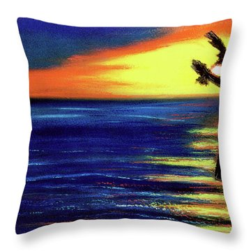 Hawaiian Sunset With Hula Dance  #183, Throw Pillow by Donald k Hall