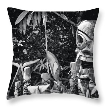 Throw Pillow featuring the photograph Hawaiian Tiki Carvings by Sharon Mau
