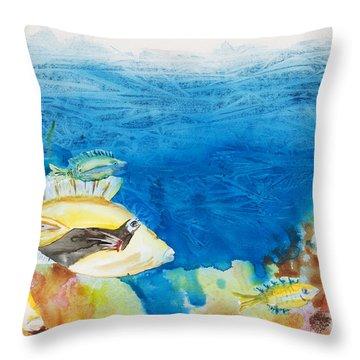 Hawaiian Triggerfish Throw Pillow by Tanya L Haynes - Printscapes