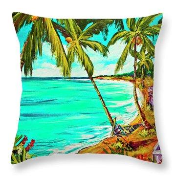 Hawaiian Tropical Beach #355 Throw Pillow by Donald k Hall