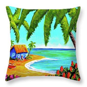 Hawaiian Tropical Beach  #364 Throw Pillow by Donald k Hall