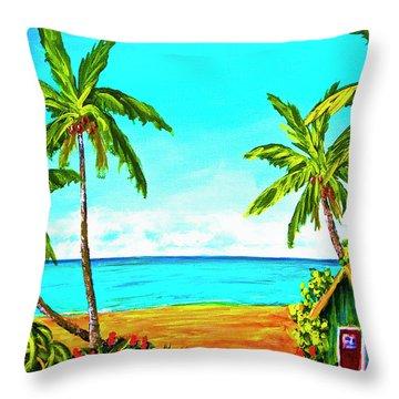 Hawaiian Tropical Beach #366  Throw Pillow by Donald k Hall