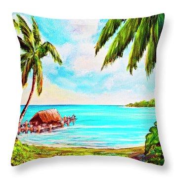 Hawaiian Tropical Beach #388 Throw Pillow by Donald k Hall