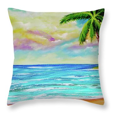 Hawaiian Tropical Beach #408 Throw Pillow by Donald k Hall