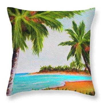 Hawaiian Tropical Beach #429 Throw Pillow by Donald k Hall