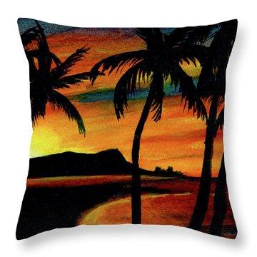 Hawaiian Waikiki Sunrise Over Diamond Head  #266 Throw Pillow by Donald k Hall