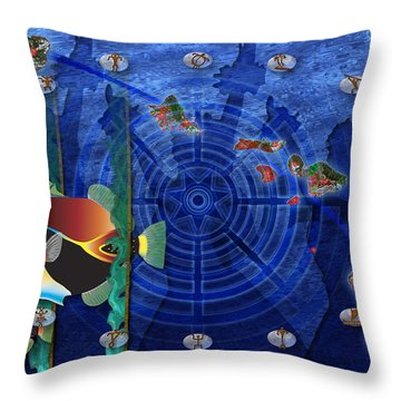 Throw Pillow featuring the digital art Hawaiiana by Kenneth Armand Johnson