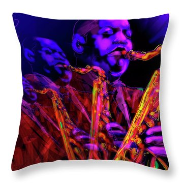Throw Pillow featuring the painting Hawk by DC Langer