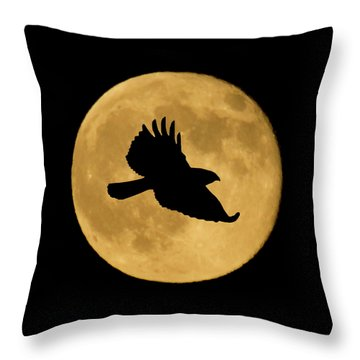 Throw Pillow featuring the mixed media Hawk Flying By Full Moon by Shane Bechler