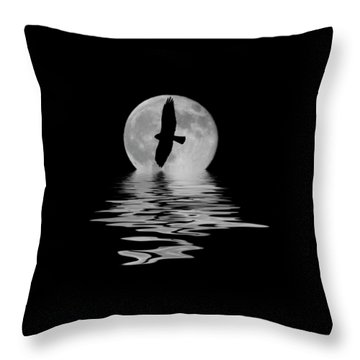 Throw Pillow featuring the photograph Hawk In The Moonlight 2 by Shane Bechler