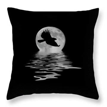 Throw Pillow featuring the photograph Hawk In The Moonlight by Shane Bechler