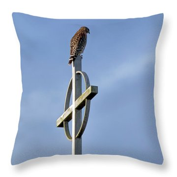 Hawk On Steeple Throw Pillow by Richard Rizzo