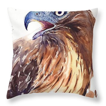 Hawk Watercolor Throw Pillow