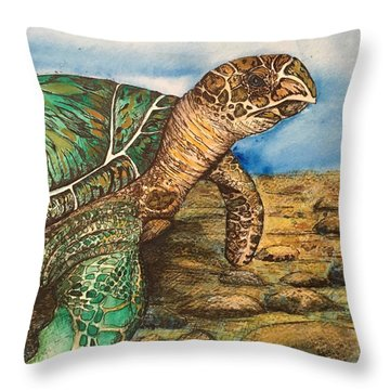 Hawkbilled Sea Turtle Throw Pillow
