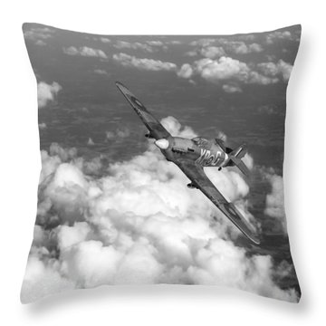 Throw Pillow featuring the photograph Hawker Hurricane IIb Of 174 Squadron Bw Version by Gary Eason