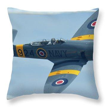 Throw Pillow featuring the photograph Hawker Sea Fury T20 N924g Chino California April 30 2016 by Brian Lockett