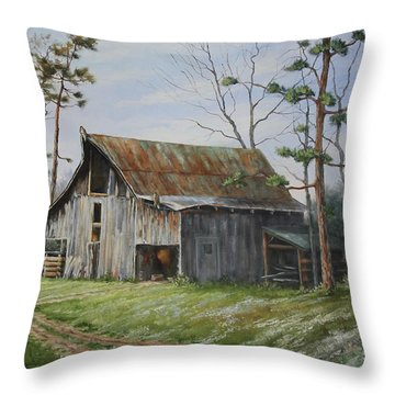 Hawks At The Barn Throw Pillow