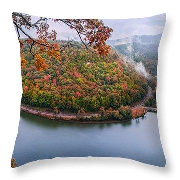 Hawks Nest State Park Autumn Splendor Throw Pillow