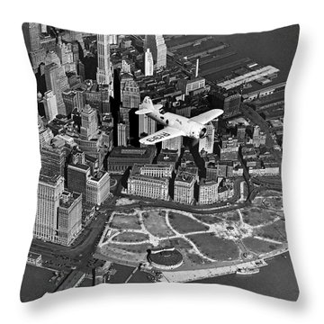 Hawk's Plane Over Battery Park Throw Pillow by Underwood Archives