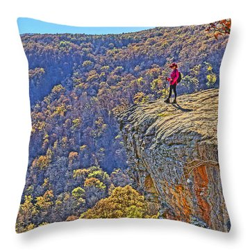 Hawksbill Crag Hiker Throw Pillow by Dennis Cox WorldViews