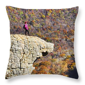 Hawksbill Crag In Autumn Throw Pillow by Dennis Cox WorldViews