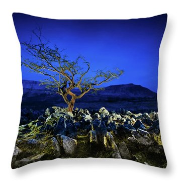Hawthorn Tree In Boulder Field. Throw Pillow